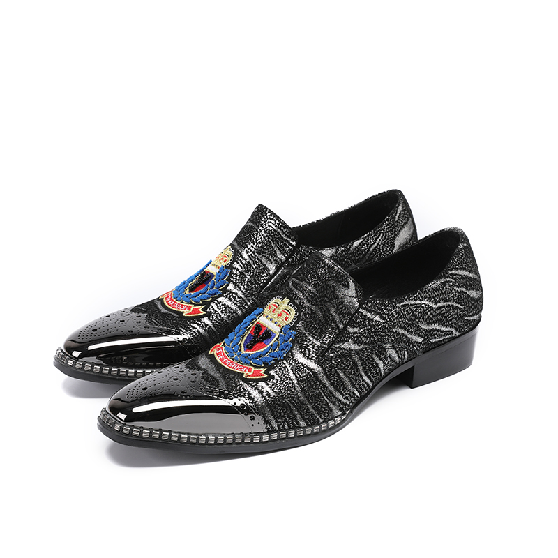 square toe Black shoes with metal tie flower Fashion party and wedding men loafers Plus size men fashion dress shoes size 38-46 2017 new fashion men bling bling oxford shoes for men brand designer evening party dress shoes men s flats plus size 38 46