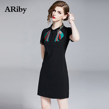 Dress Women Plus Size Summer ARiby 2019 New Fashion Casual Straight Solid Short Sleeve Button Mini Turn-down Collar