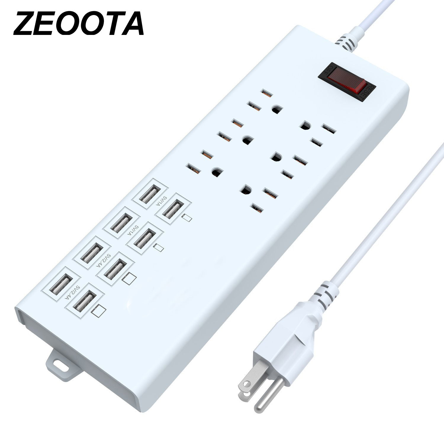 Power Strip USB Outlets Travel Adapter 1625W/10A Surge Protector 6 AC US Outlets Plug Socket with USB 8Ports 5ft Extension Cord standard grounding tower extension socket ac 10a multi universal socket 12 outlets with overload protector and portable handle