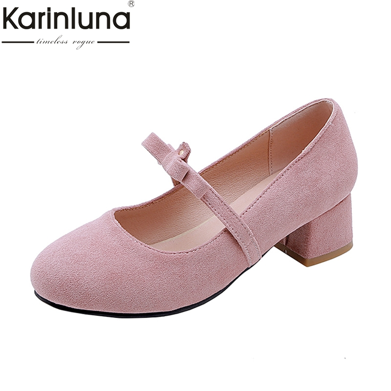 Karinluna Plus Size 43 Ins Style 2019 Brand New Chunky Heels Mature Office Lady Womens Pumps -5196