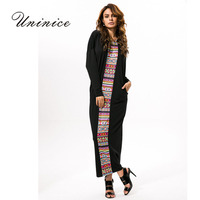 UNINICE New Muslim Dress Long Kaftan Dresses Dubai Fashion Stitching Loose Abaya Turkish Muslim Clothing Women