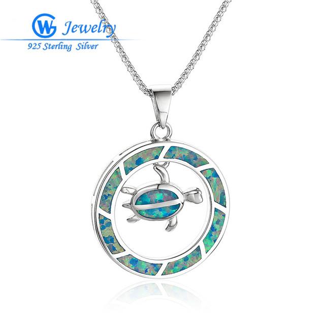 Gw belas jóias blue fire opal 925 sterling silver animal turtle pingente moda jóias pingente sem colar fp483h20