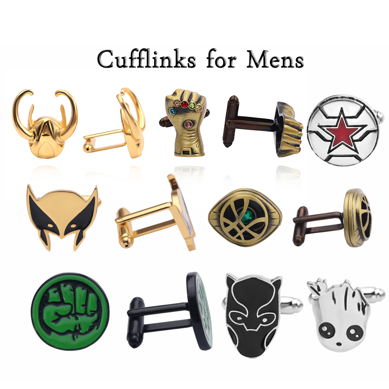 Avengers Novelty Luxury Thanos Glove Doctor Strange Black Panther Cufflinks For Mens Hulk Guardians Of The Galaxy Mans Gift