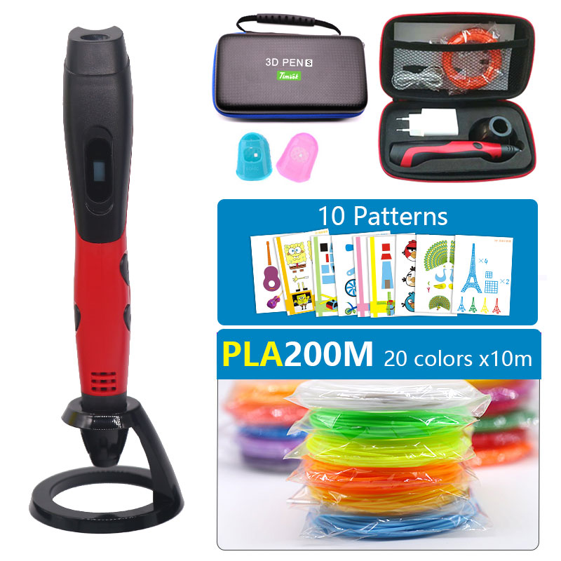 sell well <font><b>3D</b></font> <font><b>pen</b></font> with PLA filament kids diy drawing <font><b>pen</b></font>,5V 2A usb adapter,oled display creative education,Can use power bank image