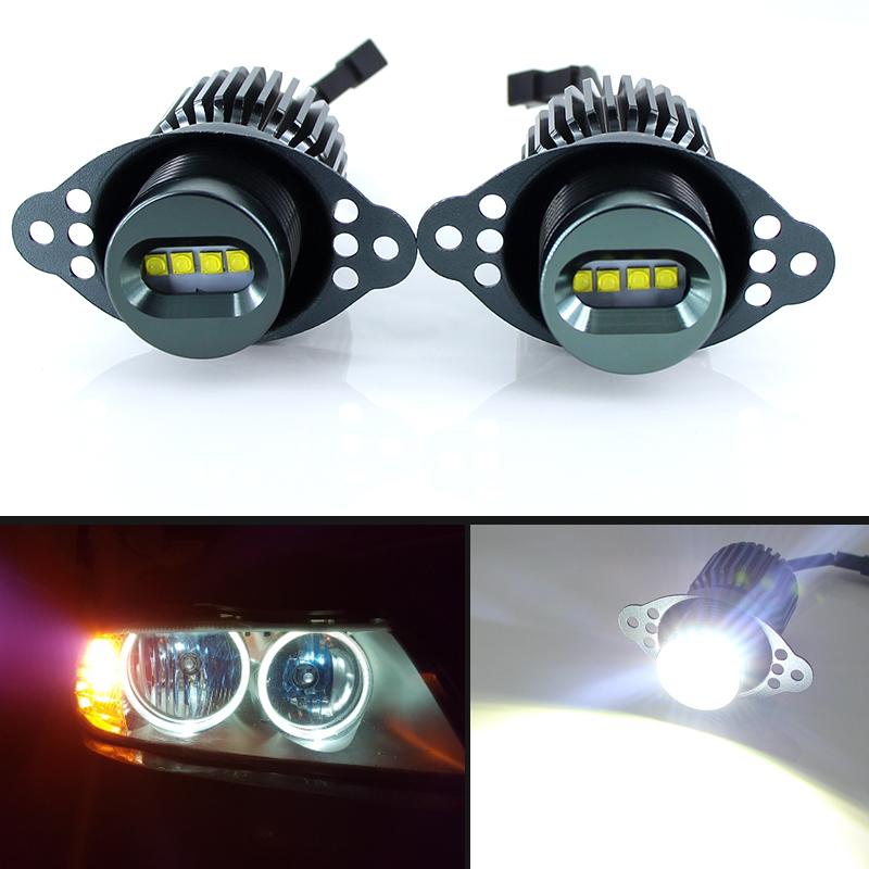1 Set40W Cree Chips LED Angel Eyes Halo Marker Ring Light Bulb Canbus For BMW E90 E91 318i LCI 09-11 DRL Error Free car styling