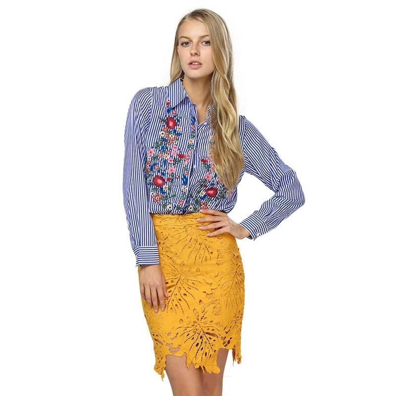 Women font b Blouses b font Casual Floral Embroidery font b Shirt b font Long Sleeve