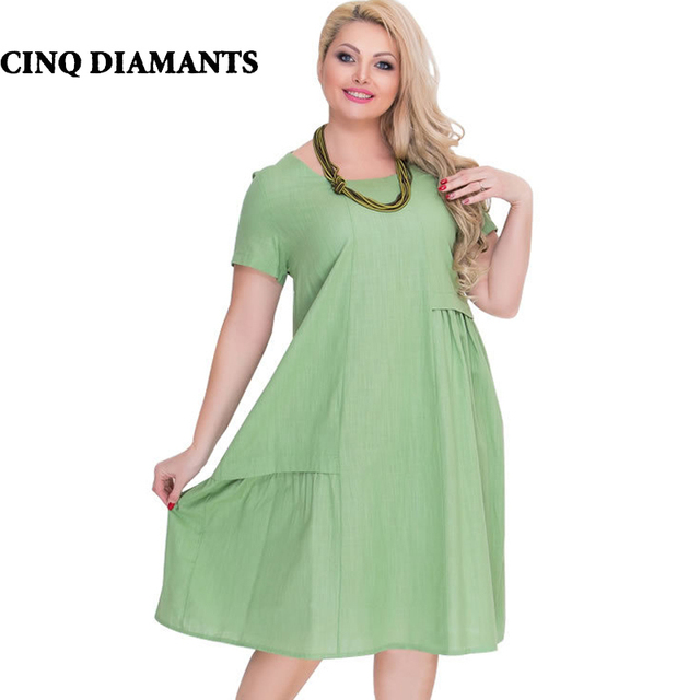 Cinq Diamants Women Midi Dress Summer Plus Size Dress Navy Blue