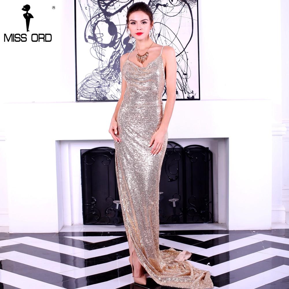 Missord 2018 Sexy harnais V-cou dos nu sequin haut de split maxi robe FT8282