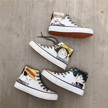 цена на Mens Printed Canvas Shoes Casual White Breathable Cartoon Hand Painted High top Sneakers Men Vulcanized Shoes Espadrilles hombre