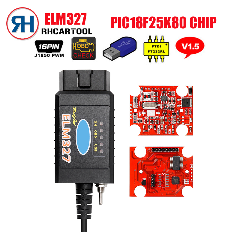US $9 93 |Mini ELM327 USB FTDI PIC18F25K80 Chip OBD2 Code Reader for Fo rd  HS CAN/MS CAN switch ELM 327 Bluetooth Car OBD2 Diagnostic Tool on