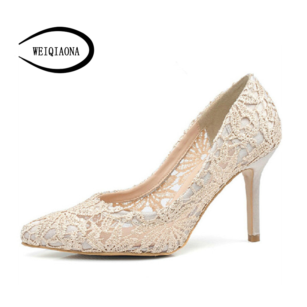 WEIQIAONA Women Thin Heels Pumps Sexy Laces Flower Mesh Hollow Pointed Toe High Heels shoes Lady Wedding Bridesmaids Party Shoes padegao fashion women shoes 2017 high heels wedding party dress shoes light gold mesh cloth shoes pointed toe pumps