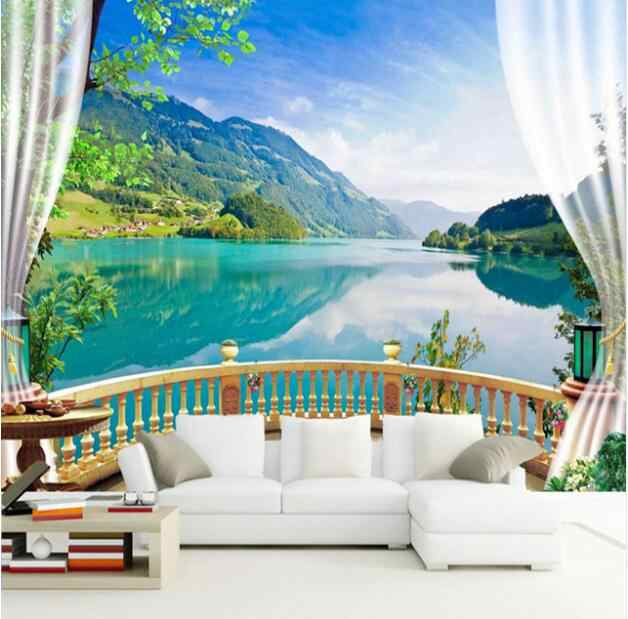 Custom 3d Wall Murals Wallpaper Landscape Beautiful Green Lake