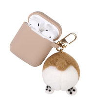 Cute Cartoon Melody Wool Felt Corgi Ass silicone keychain Headphone Earphone Case For Apple Airpods Accessories cover box