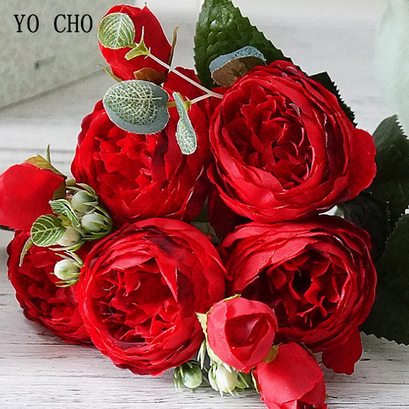 Beautiful Rose Peony Artificial Silk Flowers small bouquet flores home party spring wedding decoration mariage fake Flower (23)