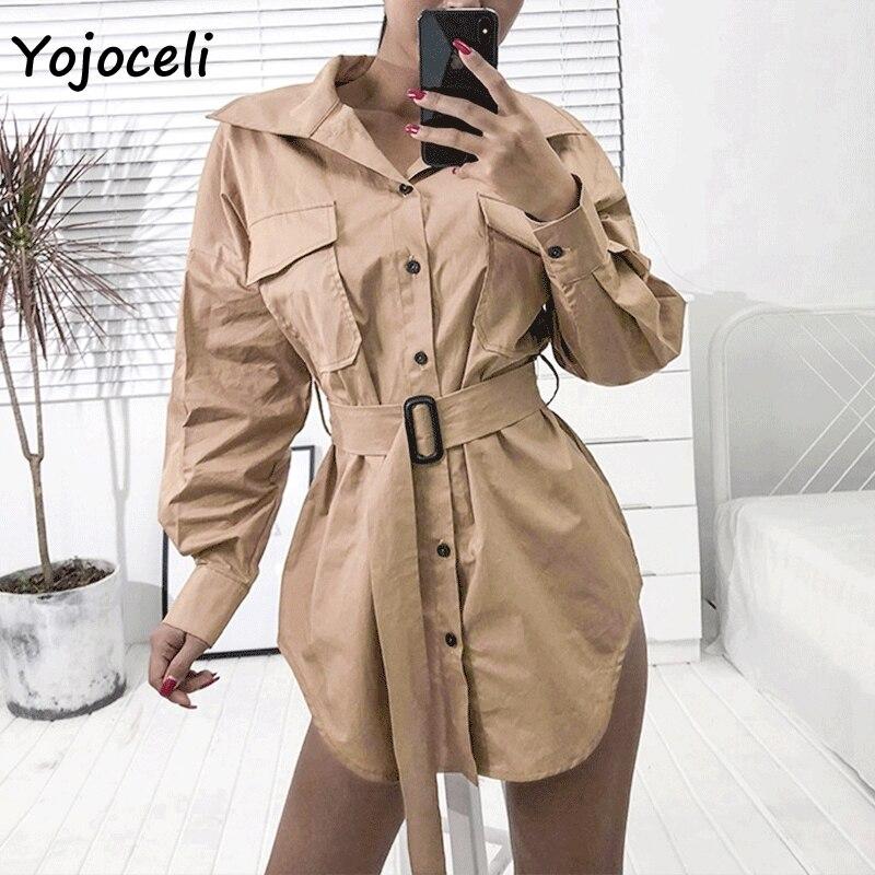 Yojoceli streetwear safari style pocket   trench   coat outerwear women belt coats casual