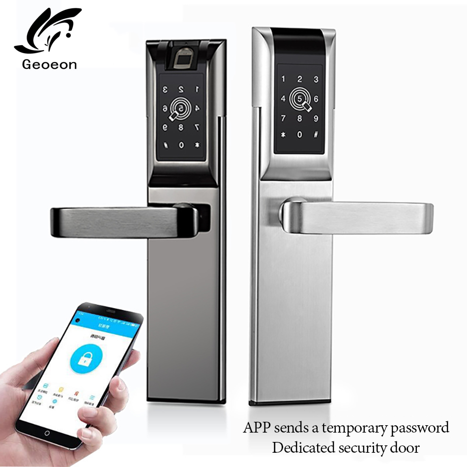 Geoeon biometric fingerprint lock APP password IC card key unlock door lock electronic hotel security anti theft A89 in Locksmith Supplies from Tools