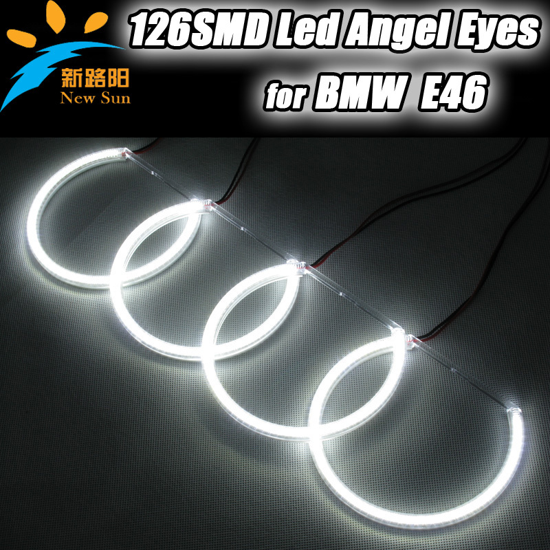 2015 Branded New 12.6W/ 0.1W x 126leds (3014SMD) led angel eyes, 12.6V  car ange eyes head light kits for Bmw E46 with projector капри nid d ange брюки light