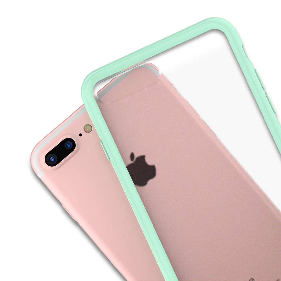 MR.YI Candy Color Frame Phone Case For iPhone 7 For iPhone 7 Plus Colorful Matte Clear Transparent Cover Case For iPhone 7 Plus (12)