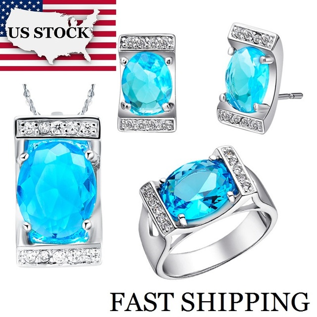 USA STOCK Uloveido 40% Crystal Wedding Jewelry Sets Bridal Necklace Stud Earrings for Women Blue Cubic Zirconia Jewelry Set T094