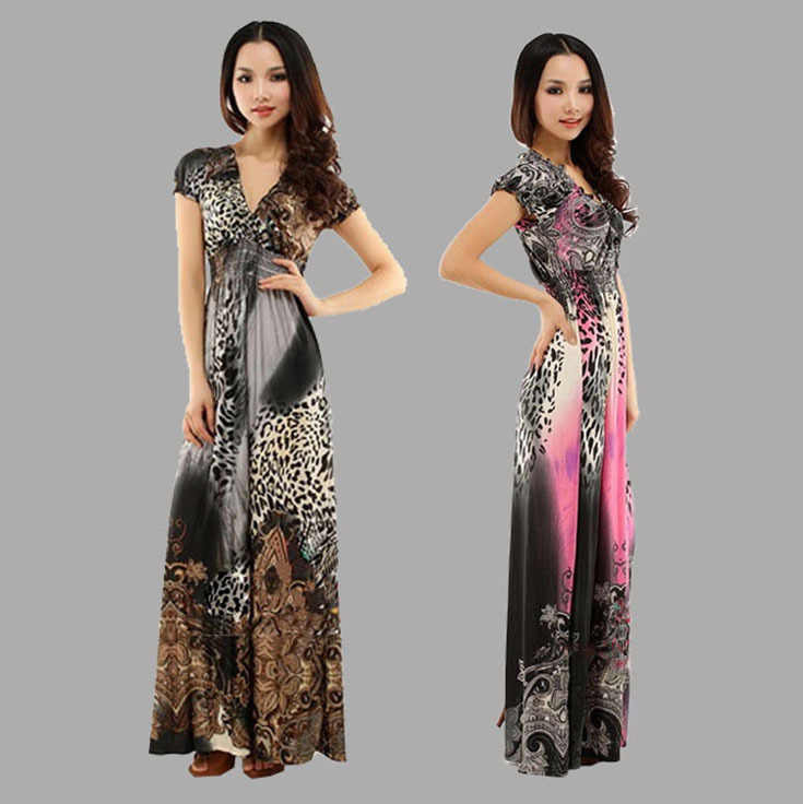 20e041d4ed7 New 2018 Summer Dress Fashion Leopard Print Bohemian Ice Silk Long Max Dress  Women Sexy V