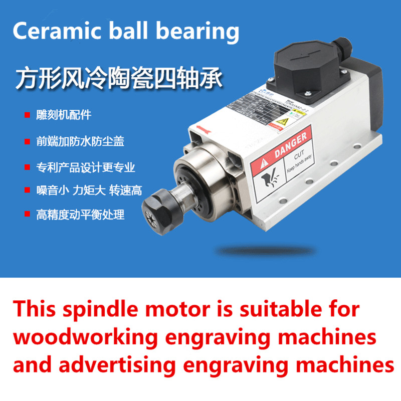 цены Square 2.2kw Quanlity Air cooled spindle motor ER20 220V,4 Ceramic bearing for CNC Router Engraving Milling