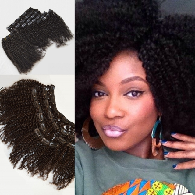 Hot Afro Kinky Curly Clip In Hair Extensions 100 Real Hair 16in
