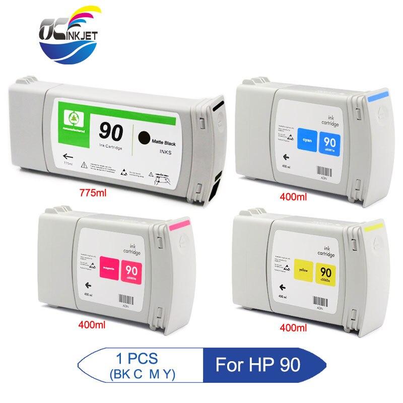 Ocjet d'encre pour HP 90 cartouche d'encre remise à neuf avec encre pour HP Designjet 4000 4000ps 4020 4500 4520 avec puce de Version la plus récente