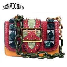 BENVICHED Genuine Leather Crossbody Bag Vintage Serpentine Tortoiseshell Chain shouder Luxury Handbags Women Designer x004