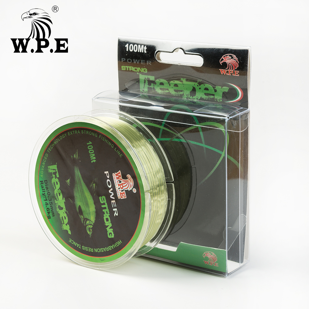W.P.E Brand FeeDer 100m Nylon Fishing Line Strong 0.20mm-0.60mm Monofilament Nylon Line 6.02KG-37KG Carp Fishing Wire