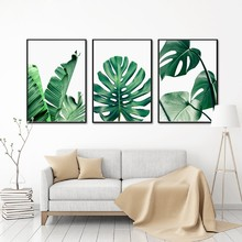 Nordic Green Plant Canvas Painting Wall Pictures , Tropical Palm Banana Turtle Leaf Canvas Prints And Poster Wall Art Home Decor(China)