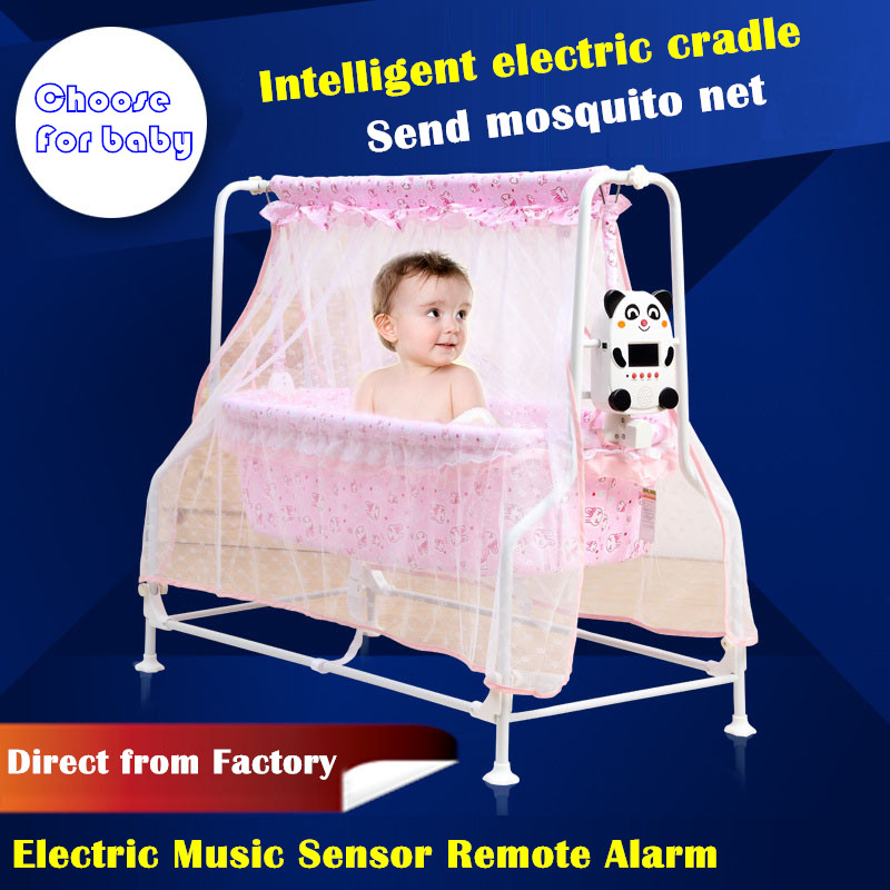 Sallei Electric Baby Bed Cradle Bed Intelligent Baby Bed Concentretor Mosquito Net Chair Cradle Chair Hanging Chair Swing the silver chair