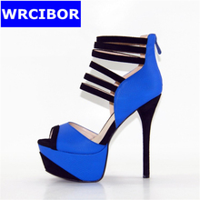 2017 Summer NEW Woman Pumps Faux Suede Peep toe High-heeled shoes Lady fashion Sexy Thin heels Platform Pumps gladiator sandals