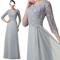 Mother Of The Bride Dress 2017 Silver V Neck 3/4 Sleeve Mother Dress Lace Top Appliques A Line Beading Long Dresses Mother Groom