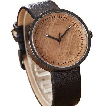 4d5260ea Натурального дерева часы Для мужчин кожаный ремешок Smodern стильный  деревянный мужской часы Для женщин Для мужчин