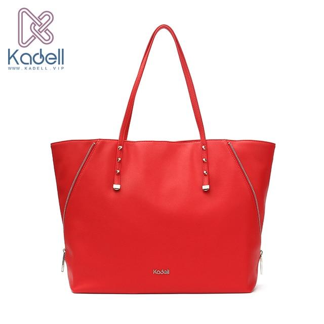 Kadell Для женщин кожа Сумки личность сторона Молнии дизайнер Сумки известный бренд красный Повседневное Tote заклепки ведро сумка