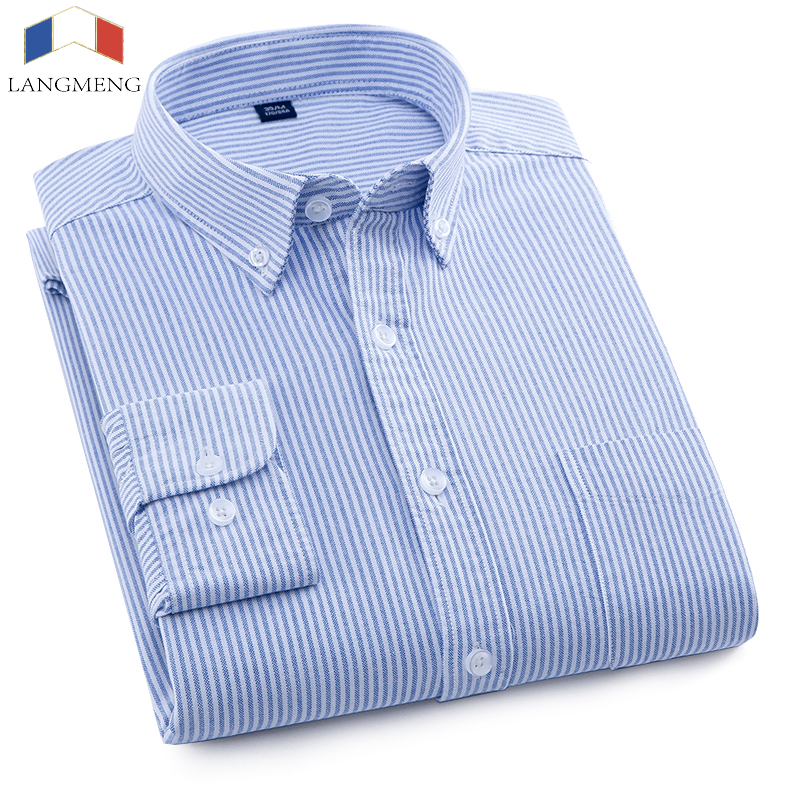 LANGMENG New Arrival 2018 Mens Striped Casual shirts Top Quality Long sleeve Men Oxford Dress Shirts Fashion Male Brand