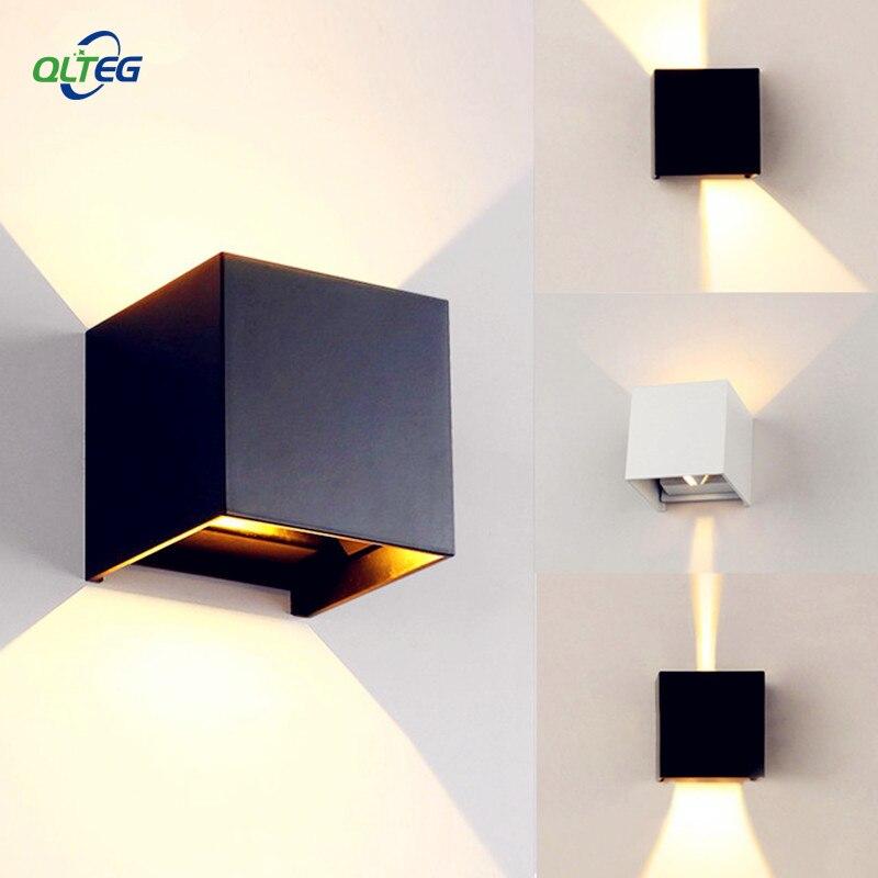 qlteg impermeavel ao ar livre ip65 lampada de parede moderna conduziu a luz da parede arandela