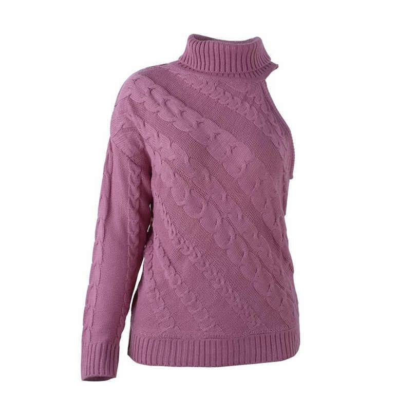 Зимний свитер женский пуловер плоская вязка пикантное платье на одно плечо свитер женский длинный рукав Повседневный водолазка розовый белый свитер
