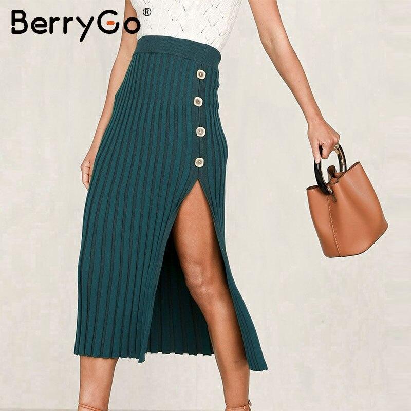 BerryGo Sexy Buttons Split Women Knitted Skirt Elegant Female Bodycon Midi Skirt Bottoms High Waist Party Ladies Pleated Skirts