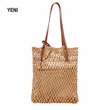 Women Casual Tote Natural Woven Hollow Out Shopping Bag Summer Beach Retro Messenger Knitting Shoulder