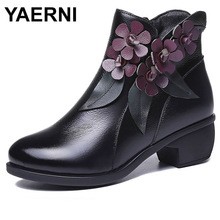 YAERNI handmade shoes genuine leather women ankle boots flower comfort med heel retro zip floral square heel 786-L3E649