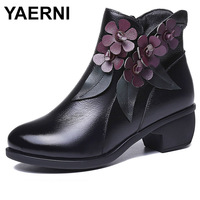 YAERNI handmade shoes genuine leather women ankle boots flower comfort med heel retro zip floral square heel 786 L3E649