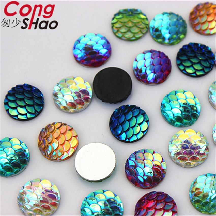 Cong Shao 300Pcs 10mm AB Colorful Round flatback Fish scales stones ... 37c7447f5da7