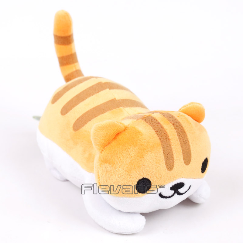 Cartoon Cute Neko Atsume Cat Cushion Pillow Plush Toys Soft Stuffed Animal Dolls Grey/yellow