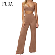 FUDA Two Pieces Sets Knitted Sexy Bodysuits Women Sleeveless Summer Rompers Jumpsuits Female Elegant Pockets Basic Playsuits fuda two pieces sets large size 3xl playsuits women bodycon rompers bodysuits short sleeve printed casual summer overalls