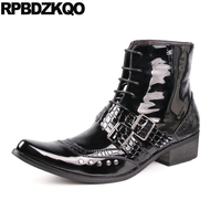 Punk Black High Top Rivet Crocodile Shoes Chunky Mens Patent Leather Boots Short Pointed Toe European