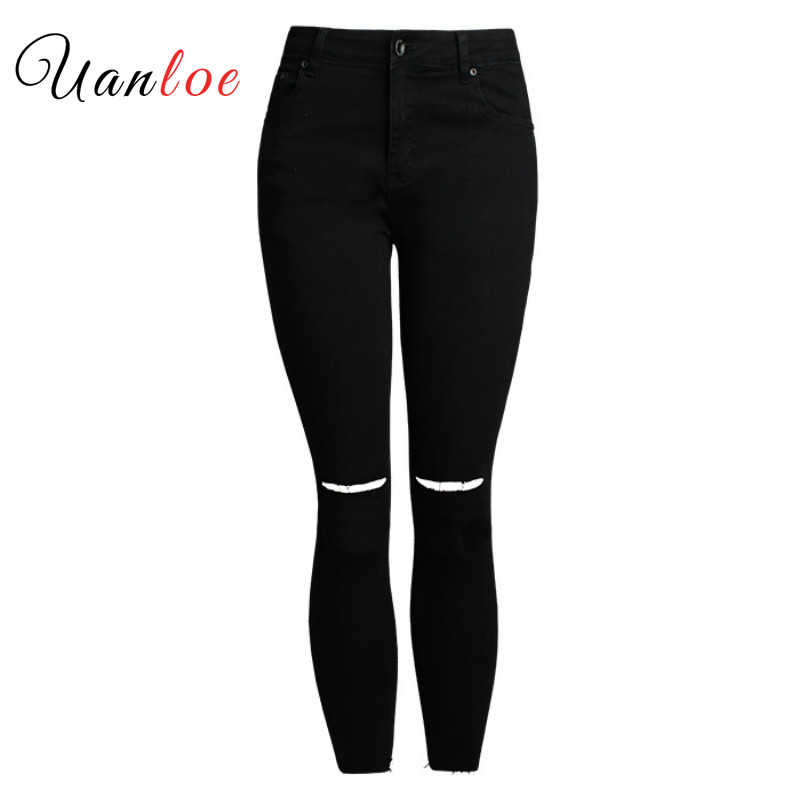 ca59982f1a 2018 Black Ripped Knees Cropped Jeans Women Mid Waist Stretchy Denim Pants  Trousers For Woman Pencil Skinny Torn Jeans