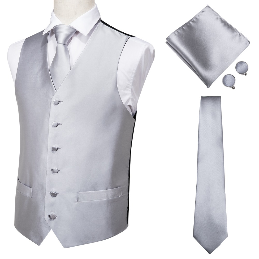 MJ-0001 Hi-Tie Men Vest Silk Waistcoat Vest High Quality Handkerchief Cufflinks Tie Vests Set Silver Grey Solid Vests For Mens