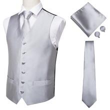 Men Vest Waistcoat Silver Grey Handkerchief Silk for MJ-0001 Cufflinks Tie Hi-Tie High-Quality