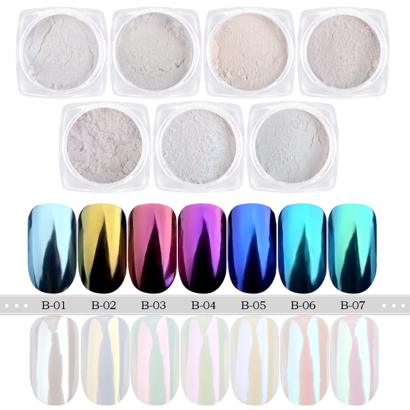 7pcs / Lot Shell ფხვნილის მტვერი UV Gel Polish Magic Mirror Nail Art Glitter Pretty Pigment Decoration DIY Tool მანიკური Shimmer Nail